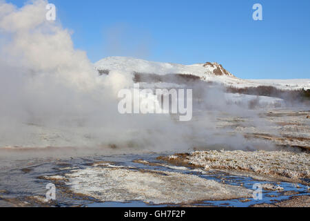 Geothermal area of Geysir in the Haukadalur valley, Sudurland, Iceland - Stock Photo