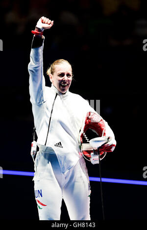 Rio de Janeiro, Brazil. 8th August, 2016. 2016 Olympic summer games, fencing competition, womens medal rounds. Celebration - Stock Photo