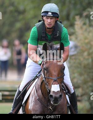 Rio de Janeiro, Brazil. 8th August, 2016. Mark Kyle (IRL) riding JEMILLA. Equestrian Eventing Cross Country (XC). - Stock Photo