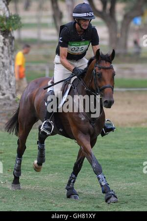 Rio de Janeiro, Brazil. 8th August, 2016. Mark Todd (NZL) riding LEONIDIS II. Equestrian Eventing Cross Country - Stock Photo