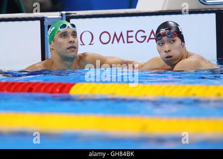Rio de Janeiro, Brazil. 7th Aug, 2016. (L-R) Le Clos Chad Guy Bertrand (RSA), Kosuke Hagino (JPN) Swimming : Men's - Stock Photo