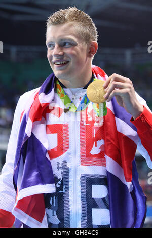 Rio de Janeiro, Brazil. 7th Aug, 2016. Adam Peaty (GBR) Swimming : Men's 100m Breaststroke Medal Ceremony at Olympic - Stock Photo