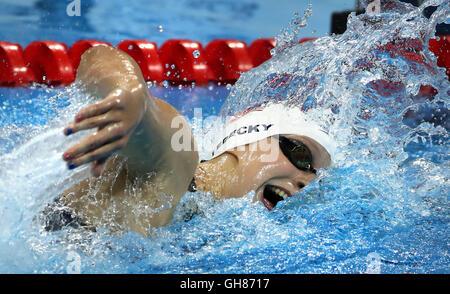 Rio De Janeiro, RJ, Brazil. 7th Aug, 2016. USA's Katie Ledecky in the 400mm freestyle heats. ] 2016 Summer Olympic - Stock Photo