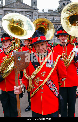 Glasgow, UK. 9th August, 2016. On the second day of 'Piping Life' the bands from The Royal Edinburgh Military Tattoo - Stock Photo