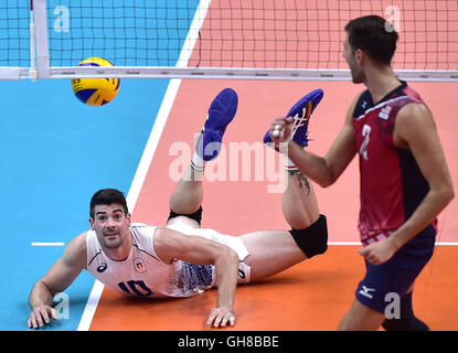 Rio De Janeiro, Brazil. 9th Aug, 2016. Filippo Lanza (L) of Italy reacts against Aaron Russell from the United States - Stock Photo