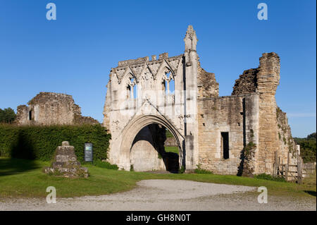 The gateway to Kirkham Priory in the Howardian Hills - Stock Photo