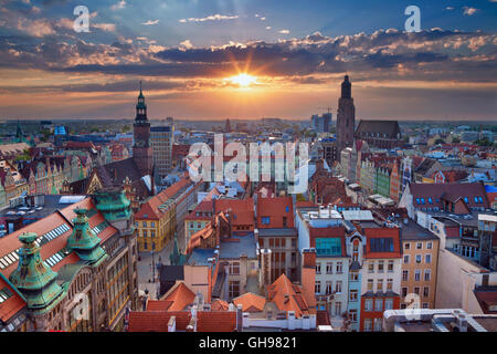 Wroclaw. Image of Wroclaw, Poland during summer sunset. - Stock Photo