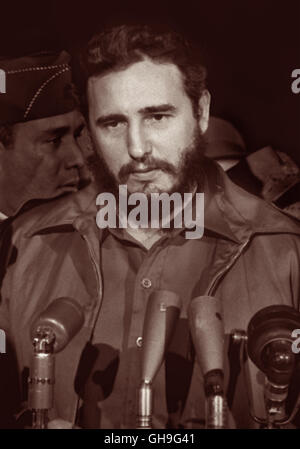 Communist leader Fidel Castro arriving at National Airport in Washington, D.C. from Havana, Cuba on April 15, 1959, - Stock Photo