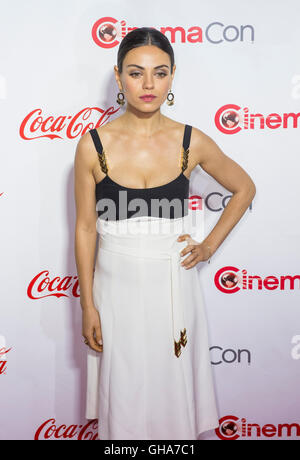 Actress Mila Kunis, one of the recipients of the Female Stars of the Year Award, attends the CinemaCon awards in - Stock Photo