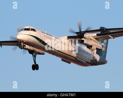 Bombardier Dash 8-Q400 turboprop plane belonging to Olympic Air, a regional subsidiary of Aegean Airlines, shown - Stock Photo