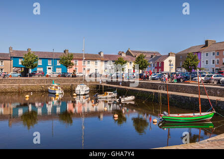 Reflections in the harbour at Aberaeron, Ceredigion, Wales, UK - Stock Photo