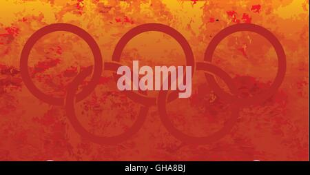 Five red interconnected rings set in fire background - Stock Photo