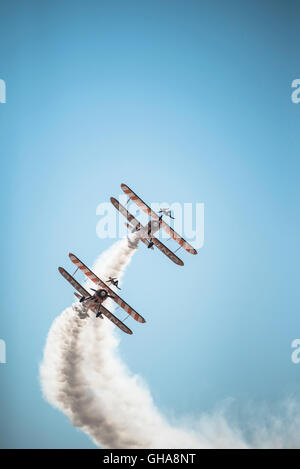 Breitling Wing Walkers at 2016 Blackpool airshow, UK. - Stock Photo