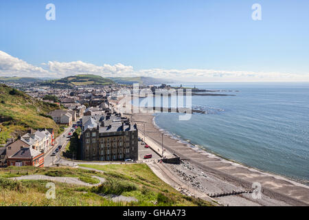 View from Constitution Hill of the seafront at Aberystwyth, Ceredigion, Wales, UK. - Stock Photo