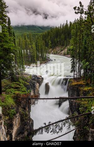 Sunwapta Falls, Jasper National Park, Alberta, Canada - Stock Photo