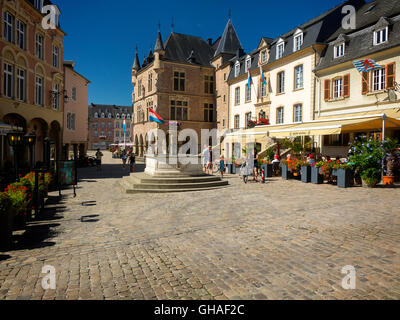 LUX - MULLERTHAL REGION: Place de Marche and gothic Hotel de Ville at Echternach - Stock Photo