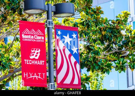 Banners near the Santa Clara Convention Center in Santa Clara California - Stock Photo