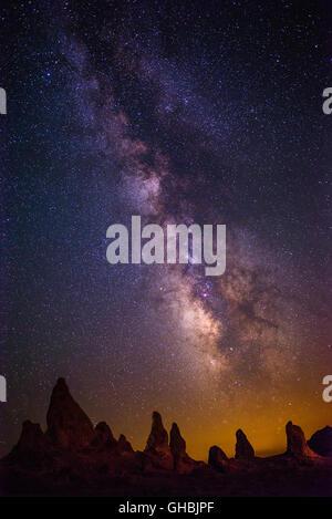 The Milky Way Galaxy over the Trona Pinnacles in California. - Stock Photo