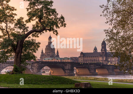 geography / travel, Germany, Saxony, Dresden, Frauenkirche (Church of Our Lady) and provincial high court and court - Stock Photo