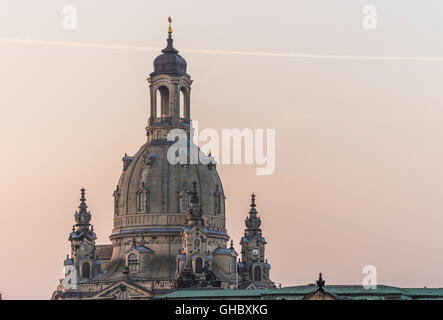 geography / travel, Germany, Saxony, Dresden, Frauenkirche (Church of Our Lady) in the morning, Additional-Rights - Stock Photo