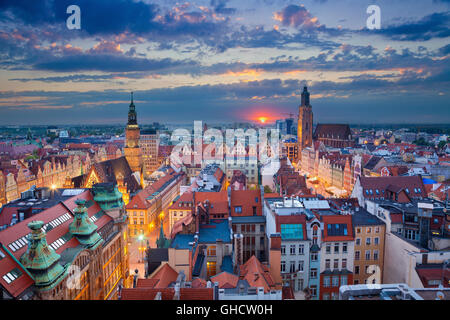 Wroclaw. Image of Wroclaw, Poland during twilight blue hour. - Stock Photo