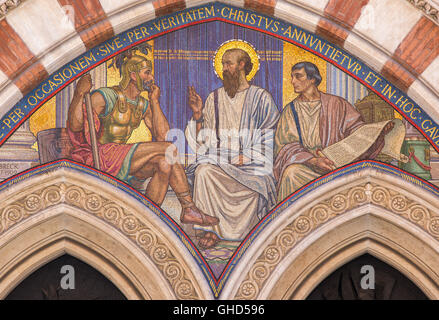 ROME, ITALY - MARCH 24, 2015: The mosaic Teaching of St. Paul in carcer by George Breck (1909) - Stock Photo