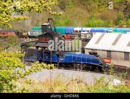 Preserved class A4 Pacific steam locomotive 'Sir Nigel Gresley' under the coaling tower at Grosmont shed. - Stock Photo