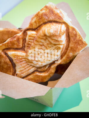 A taiyaki, a Japanese fish-shaped cake filled with red bean paste, from Snowy Village Dessert Cafe in Vancouver, - Stock Photo