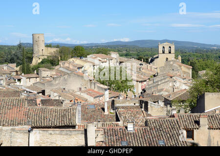 View over the Rooftops of the Village of Cucuron Luberon Provence france - Stock Photo