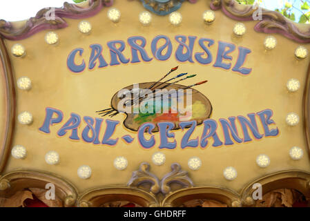 Paul Cezanne Artist's Palette Painted on Carousel or Carrousel Aix-en-Provence France - Stock Photo