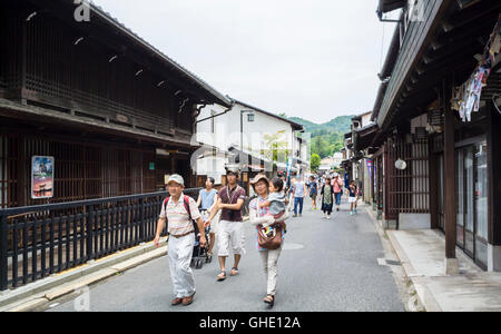 Japanese tourists Miyajima Hiroshima Japan - Stock Photo