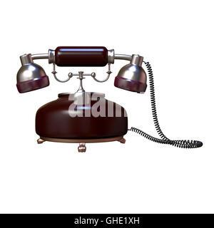 retro style dial vintage phone 3d illustration - Stock Photo