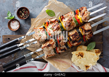 Pork and vegetable kebabs - Stock Photo