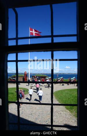 Helsingor, Denmark - July 19, 2016: View from the window of Kronborg Castle of Hamlet in Denmark - Stock Photo