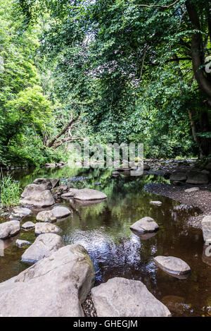 Rocks in the River Almond, Livingston, West Lothian, Scotland - Stock Photo