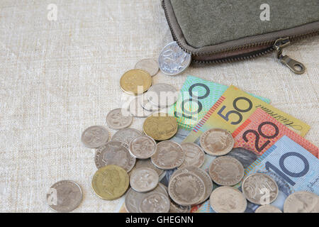 Australian money, AUD with small money pouch - Stock Photo