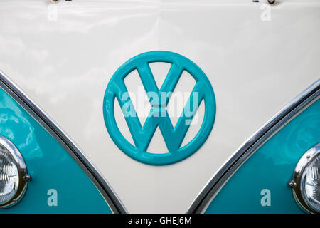 old and rusty volkswagen logo badge stock photo, royalty free