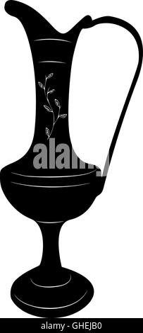 Oriental brass pitcher vase stylized vector illustration in black and white. - Stock Photo