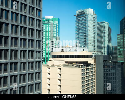 Condominium apartment buildings in the Coal Harbour district of downtown Vancouver, British Columbia, Canada. - Stock Photo