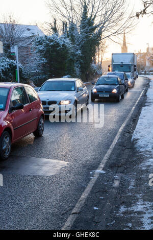 Rush hour traffic jam on a winter morning in Nottinghamshire, England, UK - Stock Photo