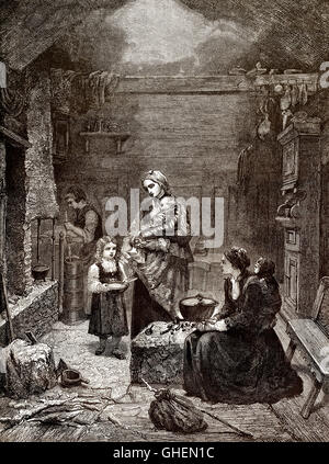 Home of family in Norway, 18th century - Stock Photo
