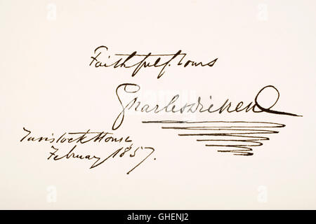 Charles Dickens, 1812 - 1870. English novelist.  Hand writing sample. - Stock Photo