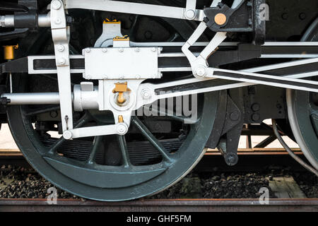 Wheels of steam locomotive with the power parts - Stock Photo
