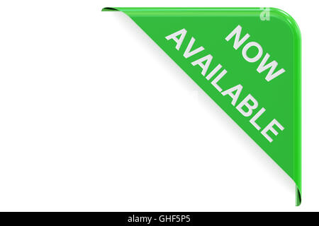 Now Available concept, green corner. 3D rendering isolated on white background - Stock Photo