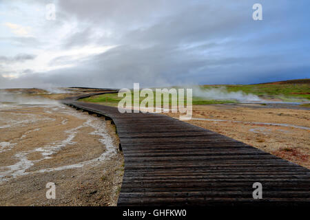 Boardwalk and fumaroles, Hveravellir, Iceland - Stock Photo
