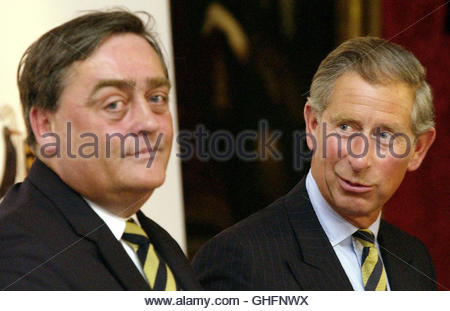 File photo dated 27/6/2003 of the Prince of Wales (right) talks with the Duke of Westminster at the launch of an - Stock Photo