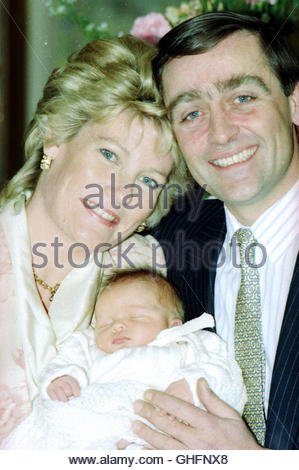 File photo dated 6/2/1991 of the Duke and Duchess of Westminster with their new baby boy leaving St Mary's Hospital, - Stock Photo