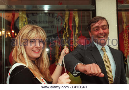 File photo dated 13/9/1995 of the Duke of Westminster being measured by Petra Roddis when he opened the National - Stock Photo