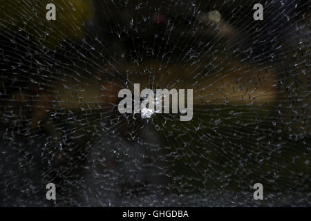 Damage to a media bus in the Deodoro area of Rio de Janeiro on the fourth day of the Rio Olympic Games, Brazil. - Stock Photo