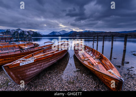 Rowing boats on the northern shore of Derwentwater near the town of Keswick - Stock Photo